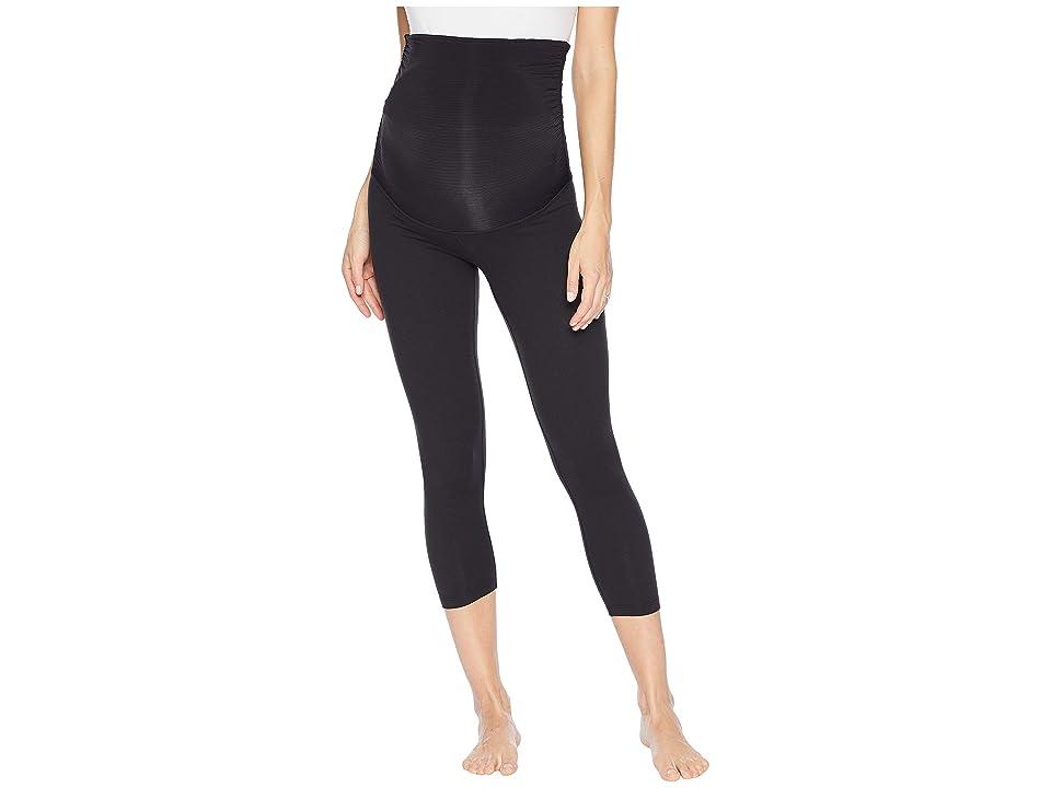 Beyond Yoga Fold Down Maternity Capri Leggings (Jet Black) Women