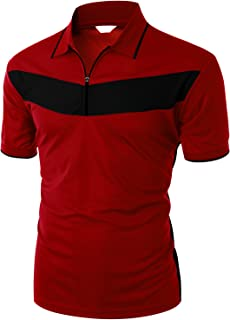 Men's 2 Tone Pattern Coolmax Fabric Short Sleeve Polo T-Shirt