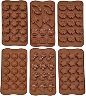 6pcs Six Different Non-stick Silicone Chocolate Jelly Cake Candy Baking Mold Love Ornaments Dinosaurs Stars Piglets Smiling Face