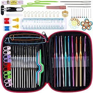 DIYARTS 100pcs Crochet Set Multifonction Crochet Kits Aiguilles à Tricoter Outils de Couture Ensemble avec Sac de Rangemen...