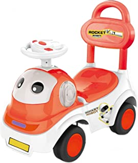 POCO DIVO Rocket Robot Ride On Toy 3in1 Cartoon Toddler Walker, STEM Baby Sliding Car, Pulling Cart with Music, Red