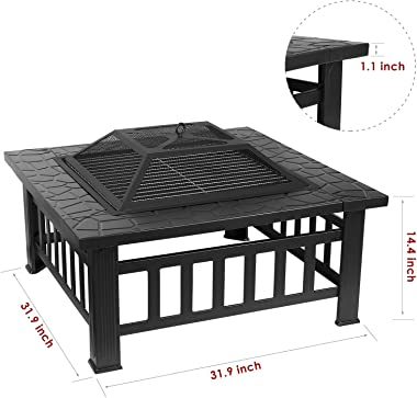 femor 32'' Fire Pit Table Outdoor, Multifunctional Patio Backyard Garden Fireplace Heater/BBQ/Ice Pit, Square Stove with Barbecue Grill Shelf and Waterproof Cover