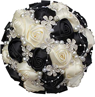 S-ssoy Customlize Handmade Bride Wedding Bouquet Silk Roses with Shining Crystal Rhinestones Bridal/Bridesmaids Hold Flower, A-018, Black+White
