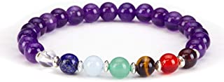 Cherry Tree Collection Natural Genuine Gemstone Chakra Stretch Bracelet | 6mm Beads, Sterling Silver Spacers | Men/Women |...