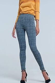 65949843953 Q2 Leggings con Estampado Monocromatico A Cuadros Blancos Y Negro Pantalones  para Mujer
