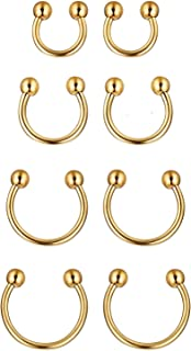 Sobly 6-8 Pcs a Set 316L Stainless Steel 16G Nose Piercing Septum Lip Nipple Eyebrow Rings Hoop Horseshoe Ear Piercings 6-12mm