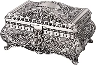 Feyarl 6.7-Inch Antique Trinket Box Rectangle Jewelry Box with Metallic Floral Engraved, Dividers Inside (L)