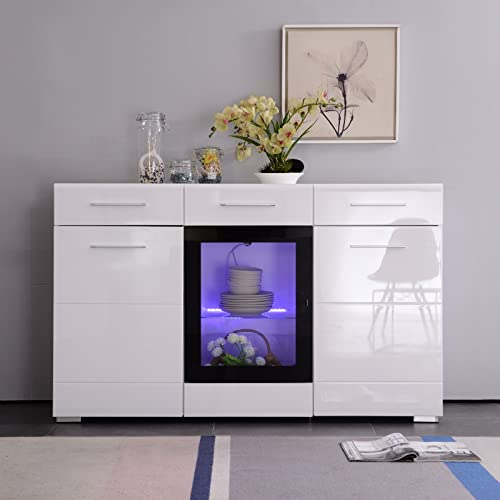 Mecor White High Gloss Sideboard Cabinet Cupboard 150cm 3 Doors 2 Drawers With LED