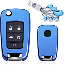 MODIPIM Keyless Entry Remote Case Key Fob Cover With Diamond Tassel Key Chain Soft TPU Holder Shell Covers For Buick LaCrosse Regal Encore Verano 2/3/4/5-Button Color Blue