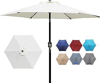 Blissun 7.5 ft Patio Umbrella, Yard Umbrella Push Button Tilt Crank (Cream White)