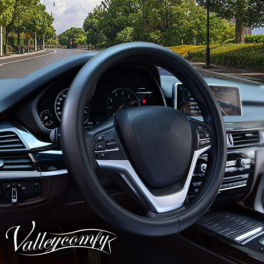 Valleycomfy Steering Wheel Covers Universal 15 inch with Genuine Leather for Car Truck SUV (Black-300)