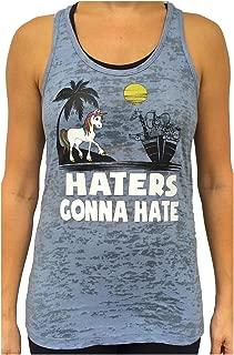 Women's Unicorn Hater Burnout Tank Top Grey