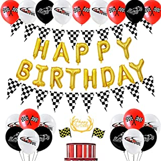 SHERONV Racing Car Birthday Decorations Kit for Kids, Race Car Party Supplies with Gold Happy Birthday Balloon Banner, Rac...