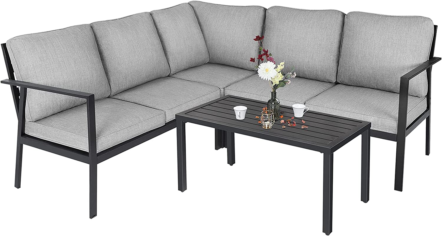 Omelaza Outdoor 4 Pieces MetalPatio Conversation SetL-Shaped Sectional Sofa with Padded Deep Seating Sofa, 2 Loveseat, 1 Corner Chair and 1 Coffee Table, Grey