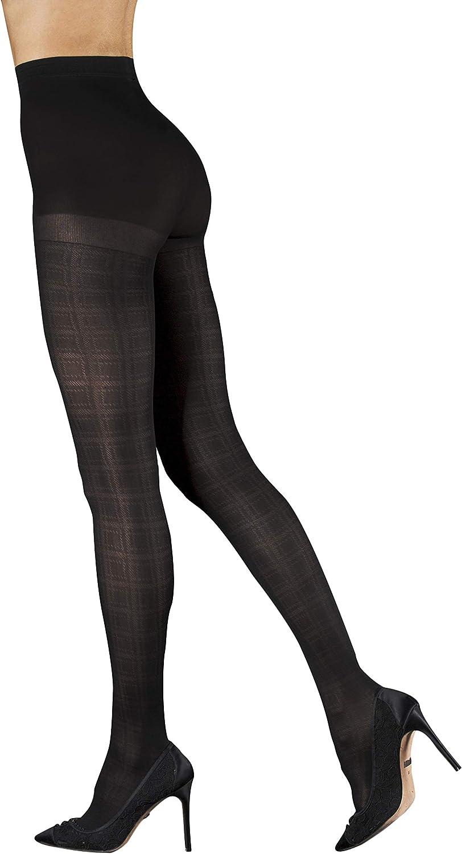 Badgley Mischka Plaid Pattern Semi Opaque Fashion Tights with Control Top, Black