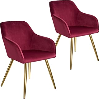 tectake 800861 Set de Dos sillas aterciopeladas, Juego de Dos sillas de Comedor tapizadas en Terciopelo, Conjunto de sillas Elegantes para la Cocina, Par de sillones para despacho (Burdeos-Dorado)