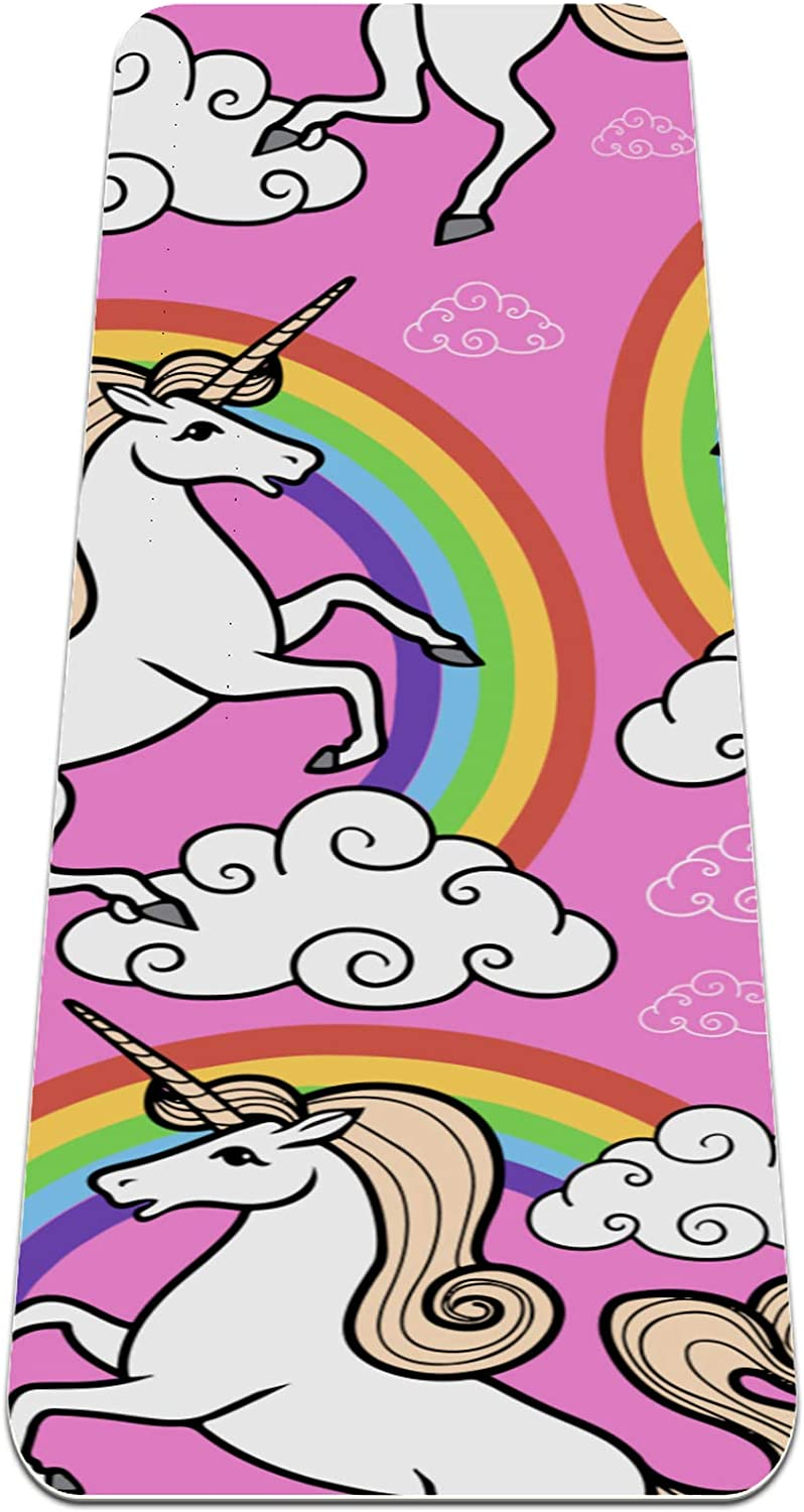 Yoga Mat Popular products Inventory cleanup selling sale Non Slip TPE Unicorn and clouds with Densi High rainbow