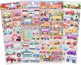 IMNEXT2U 3D Puffy Stickers for Kids Resuable Foam Sticker for Toddler, Boys, Girls, Scrapbooking Supplies, Plane, Train, Yachts, Fighter - 4 Sheets (Transportation)