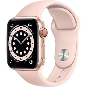 New AppleWatch Series 6 (GPS + Cellular, 40mm) - Gold Aluminum Case with Pink Sand Sport Band (Renewed)