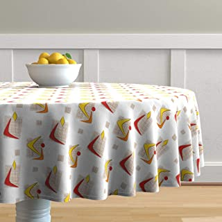 Roostery Round Tablecloth, Mod Boomerangs Boomerang Atomic Retro Geometric Mid Century Modern Print, Cotton Sateen Tablecloth, 90in