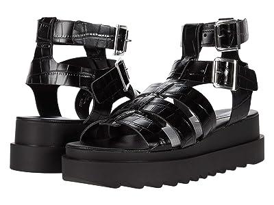 Steve Madden Zeeta Gladiator Sandal (Black Croco) Women