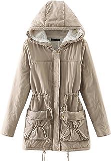 """معطف حريمي من CHARTOU مطبوع عليه كلمة """"Beautiful Thicken Zipfly Hooded Lambswool Fleece Lined Long Jacket خارجي"""