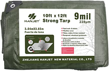 Hanjet Tarp Heavy Duty Waterproof Camping Car Pool Shade 9-mil Thick Poly Tarp Army Green