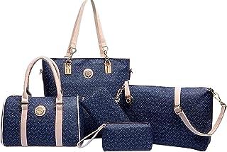 Five Pieces Classic Tote Bag Set for Women - Blue