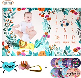 """BFS-Dream Floral Milestone Blanket Baby First Year Milestone Blanket Thick Fleece Photography Background Blankets for Infants & Toddlers Large Size Memory Blanket (39"""" x 59"""" / 40"""" x 63"""")"""