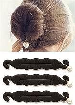 HAKDAY 3 PCS Magic Beauty Hair Hairstyle Foam Pearl Sponge Donut Maker Ponytail Bun Maker Twister,Black