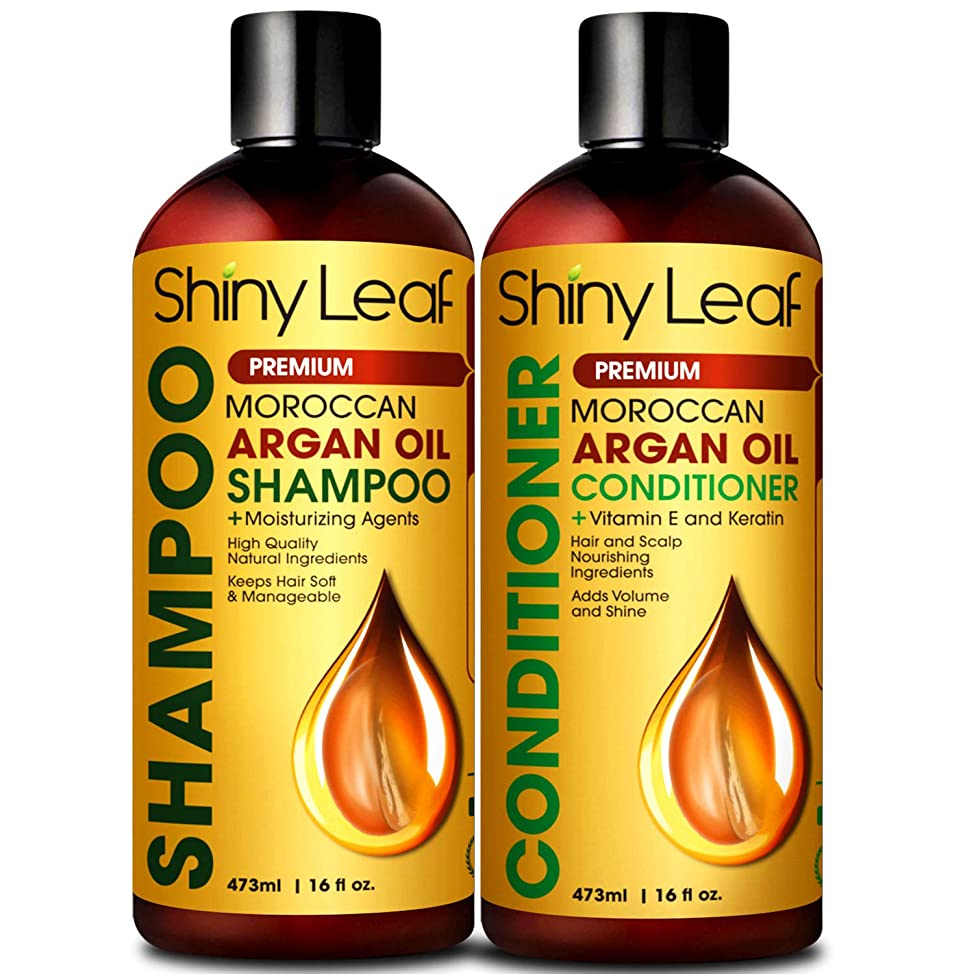 Moroccan Argan Oil Shampoo and Conditioner Set, Sulfate Free, Safe for Color Treated Hair, Anti-Hair Loss Treatment, Repair Hair Damage, Strengthens Hair For Healthy Hair Growth 16 Fl. Oz.
