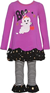 Little Girls Fuchsia Boo Ghost Detail Halloween Outfit 2-4T