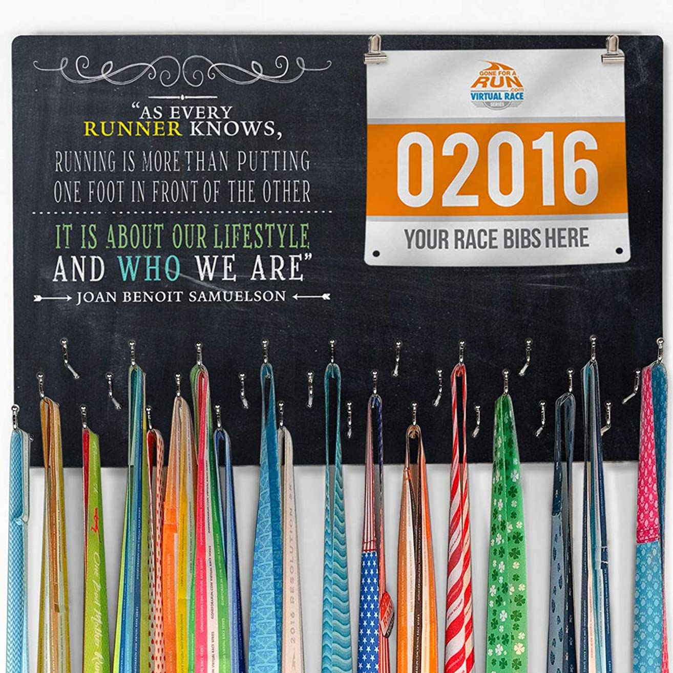 Gone For a Run Hooked on Medal Hanger & Bib Display | Runners Know | Colors