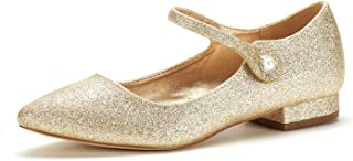 Women's Sole_Silky Gold/Glitter Fashion Low Stacked Ankle Straps Flats Shoes Size 10 M US