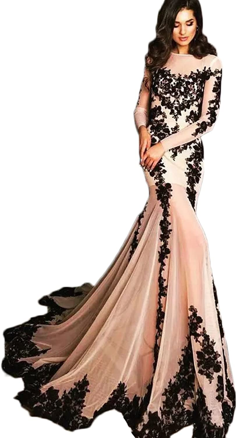Alexzendra Mermaid Formal Evening Dress For Women Sexy Prom Dress With Long Sleeves