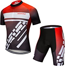 NASHRIO Men's Cycling Jersey Set Road Bike Short Sleeves Kit with 4D Padded Gel