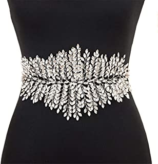 LUKEEXIN Bridal Girdle Handmade Belt Rhinestone Wedding Dress Accessories Bridal Belt Girdle (Color : White-Organza)