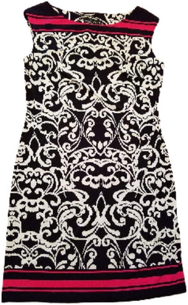 Jessica Howard Womens Size Small Sleeveless Missy Dress, Black/Pink/White