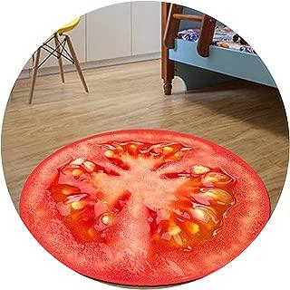 Collocation-Online 3D Fruits Round Carpet Diameter 60/80/100/120/160CM Parlor Living Room Mats Kitchen Rugs Children Kids Bedroom Pad,Tomato,Diameter 1200MM