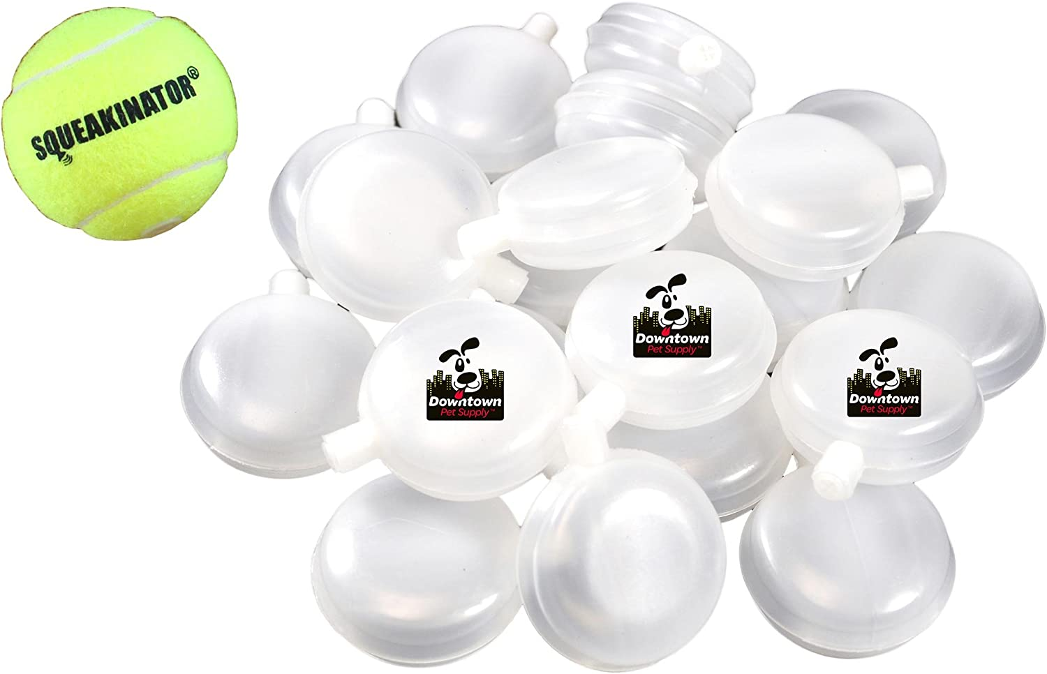 30 Replacement Squeakers, Bellowed + FREE Tennis Ball that SQUEAKS, THE SQUEAKINATOR