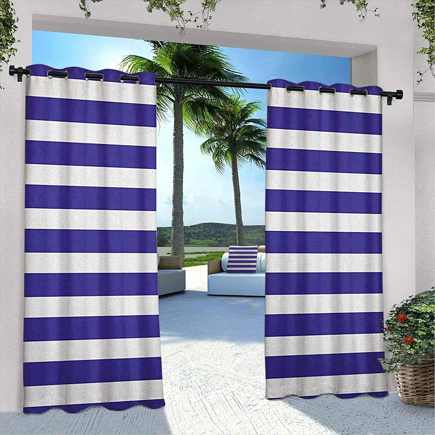 Outdoor Pavilion Striped At the price of surprise Curtain l Marine Bargain sale Blue W Navy Style and