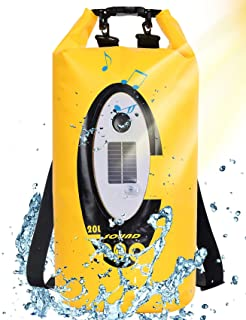 Qoolife Waterproof Dry Bags with Bluetooth Speaker Solar Light - 20L Roll Top Dry Compression Sack Keeps Gear Dry Backpack...