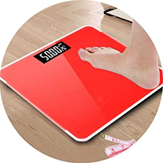 Electronic Weighing Scales LED Digital Display Weight Weighing Floor Electronic Smart Balance Body Household Bathrooms 180KG,Red