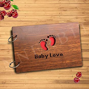 innerbit® 'Baby Love' Artistic Wooden Photo Album Scrap Book 30 Pages - Size (22 cm x 15 cm) Gift Item