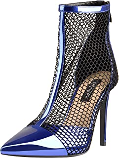 Women's Fishnet Ankle Boots Pumps High Heels Sandals Sock Booties