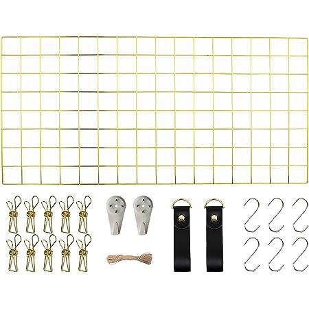 WUZILIN - Estante de Rejilla de Pared para Manualidades, de Hierro, para Colgar Fotos en el tablón de Notas, en la Familia, Cocina, Oficina, etc. Dorado 40 * 80CM