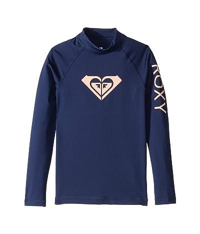 Roxy Kids Whole Hearted Long Sleeve Rashguard (Big Kids) (Medieval Blue) Girl