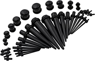 Qmcandy 36pcs 14G-00G(1.6-10mm) Acrylic Tapers Kit & Plugs with Double O-Rings Ear Stretcher Set