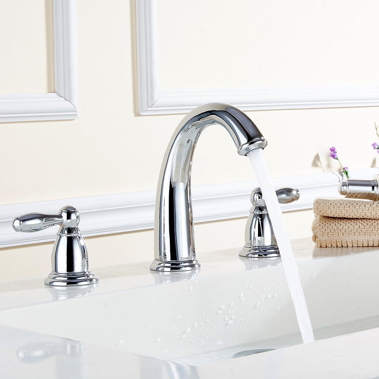 Caribou Waschtischarmatur Wasserhahn Spültisch Küche Waschtisch Waschenbecken Bad Heies und kaltes Wasser, Kupfer Chrom kann drei Stze gedreht werden