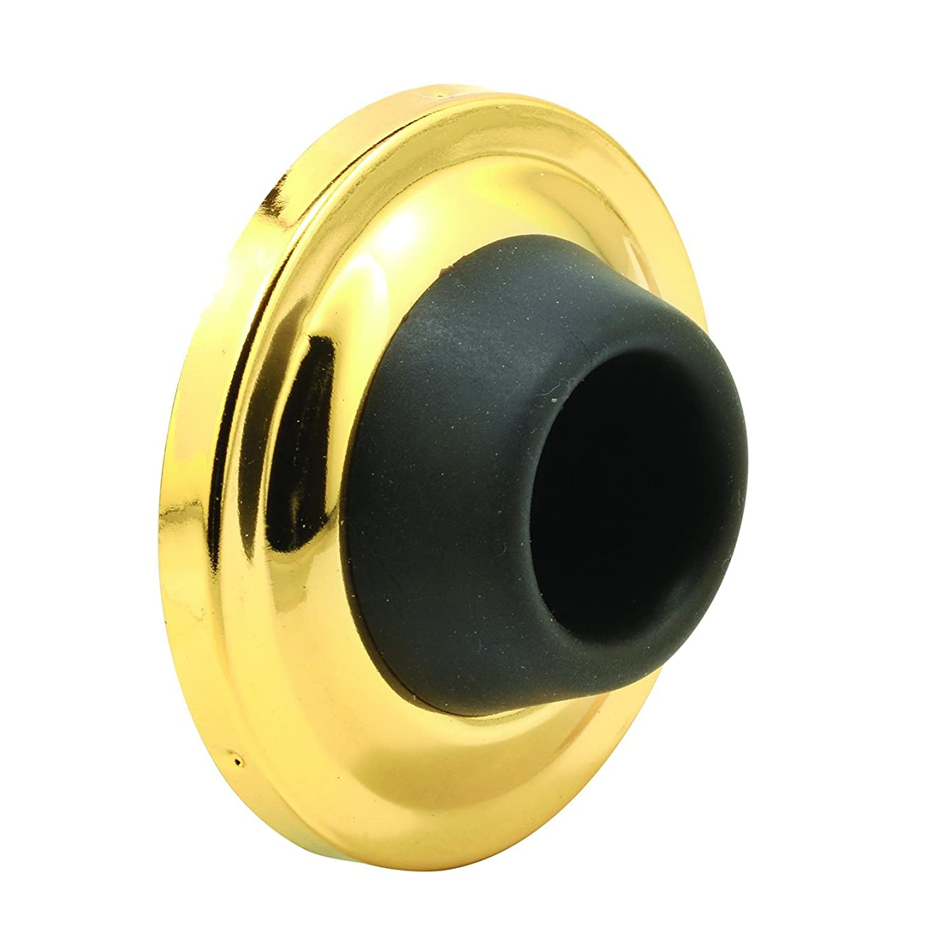 """Prime-Line J 4542 Wall Stop – Protects Walls from Door Knob Damage – 2-1/2"""" Outside Diameter Polished Brass Cover with 1-1/8"""" Black Round Rubber Bumper – Easy to Install"""